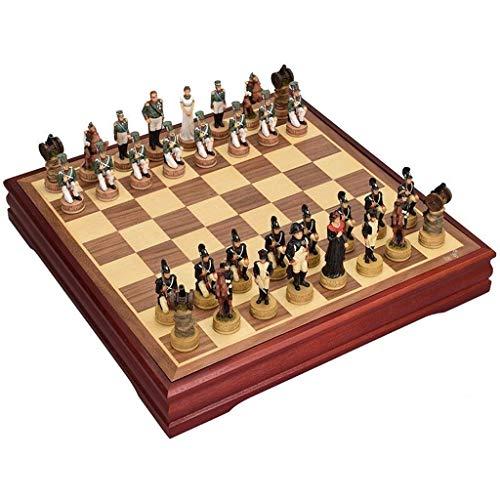 FABAX Schachbrett Holz International Chess Set Pieces Set Brettspiel Schachfiguren Sammlung Tragbare Brettspiele Reise Spielzeug Geschenk Schach (Größe : A)