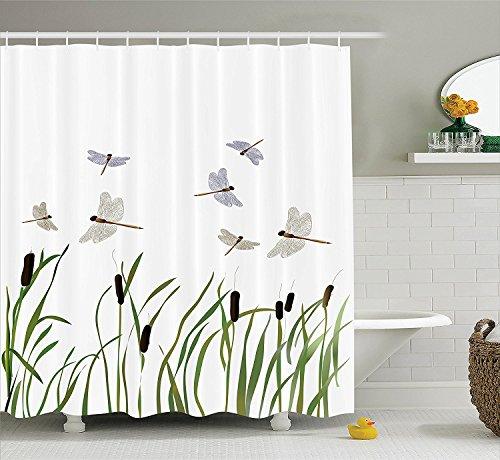 Libellen Mit Duschvorhänge (Violetpos Fliegende kleine Libellen über hohe Schilf Duschvorhang Badezimmer Dekorative 160 x 180 cm)