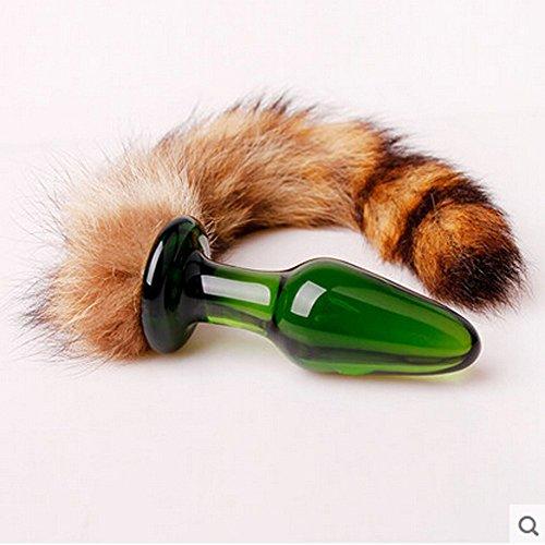 Mitlfuny Spielzeug,Anal Toys Fuchsschwanz FüR Paar Glas Anal Plug Erwachsene Sex Crystal Bullet Butt Plug (Green) (Glas-spielzeug Für Erwachsene Für Paare, Sex)