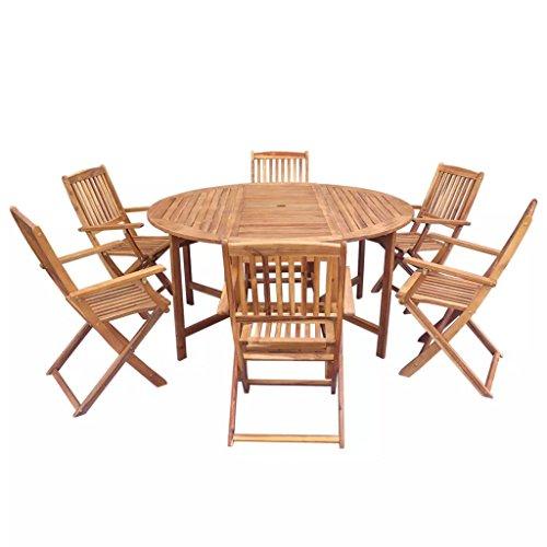 FZYHFA Gartenmöbel-Set, 7-teilig, aus Akazienholz, faltbar, Schlichtes und praktisches Design,...