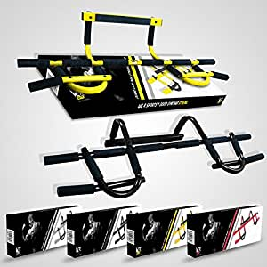 We R Sports Extreme Door Gym Exercise Iron Man Bar Chin Ups Pull Ups Sit Up Fitness Home Workout - Black