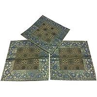 Mogul Interior 3 Square Silk Cushion Cover Toss Pillow Case Decor 16X16 (Blue)