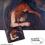 Geschenkset: 1 Poster Kunstdruck (120x80 cm) + 1 Mauspad (23x19 cm) - Edvard Munch, Vampir, 1895