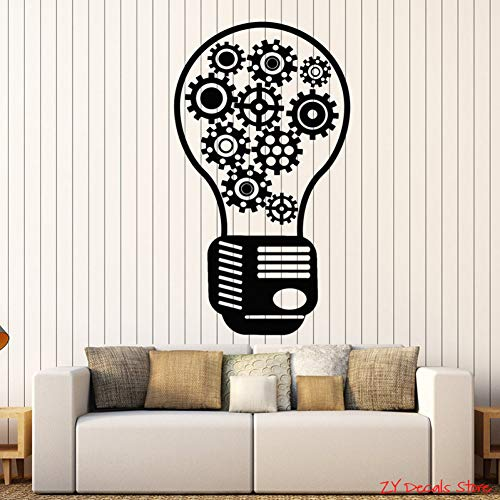 CHENXHU Gear Vinyl Wall Decal Light Bulb Motivational Decor Office Style Stickers Teamwork Quotes Wall Decor For Office Room