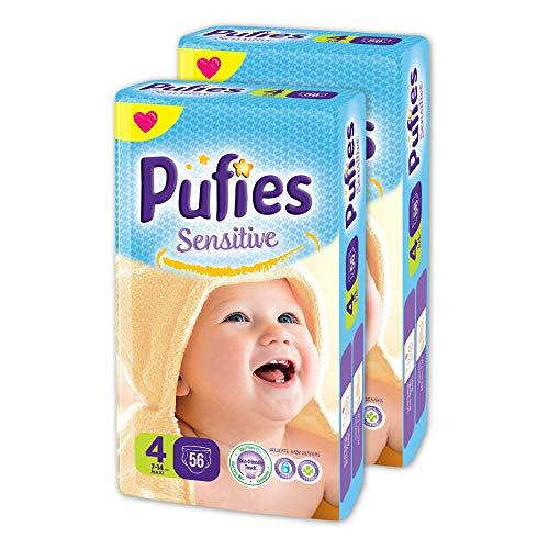 Pañales para bebés Pufies Sensitive - Paquete de pañales con 112 unidades de la talla 4 (7-14 Kg.)