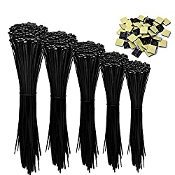 kabelbinder,UV Beständig 500 Stck 100/140/160/200/300 mm zip ties(Und 50 Kabelbinderhalter) schwarz