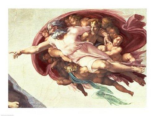 Michelangelo Buonarroti – Sixtinische Kapelle Decke: Die Erschaffung Adams Kunstdruck (60,96 x 45,72 cm) (Michelangelo, Die Decke)