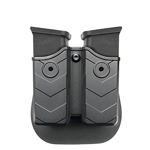 efluky Doppel-Magazintasche - Magazin Holster, Doppel Magazintasche mit Paddel für Glock/H & K/Smith & Wesson/Ruger/Sig Sauer/Springfield/Taurus/Beretta/CZ/Walther und mehr, Passend für 9mm/.40 cal (Doppel-holster)