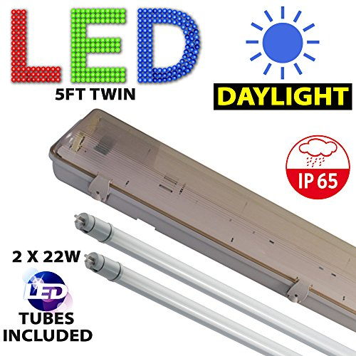5FT TWIN LED 2 X 22W - NON CORROSIVE WEATHERPROOF FLUORESCENT LIGHT FITTING - IP65 - ENERGY EFFICIENT OUTDOOR STRIP LIGHT - IDEAL FOR GARAGES, WORKSHOP, SHEDS, GREENHOUSES OR COMMERCIAL APPLICATIONS - STURDY CONSTRUCTION - POLYCARBONATE DIFFUSER - BRANDED - 3 YEAR LAMP GUARANTEE - INCLUDES LED TUBE 22 WATT - 6000K DAYLIGHT LIGHT OUTPUT