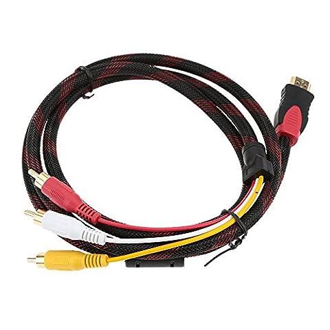 TOOGOO(R)1,5 m/ 5Ft Vergoldeter 1080P HDMI-Stecker auf 3-RCA Komponent Video & Audio HD Video Konverter Adapter Kabel fuer HDTV-Notebook PC-TV Laptops HD-DVD-Player