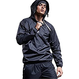 GWELL Mens MMA Sauna Sweat Suit Weight Loss Slimmimg Fitness Gym Boxing Exercise Training Track Suit Top Jacket