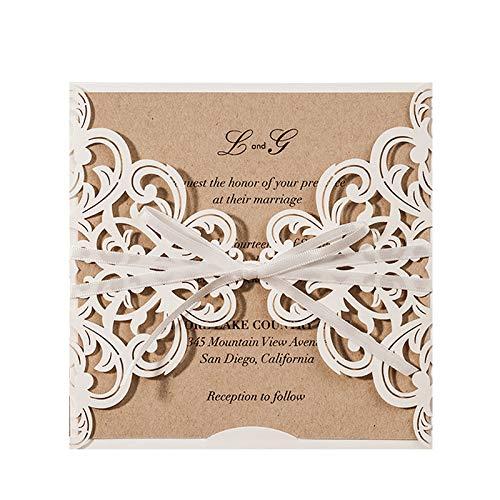 Jofanza Einladungskarten Für Hochzeit Geburtstag Taufe Party Elfenbeinenfarbe Borte Lasercut Mit Schleife Kraftpapier Blanko Set 50 Stücke inkl Umschläge