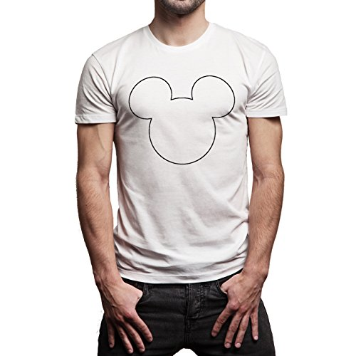 Mickey Mouse Disney Dope Icon Swag Colour Line Outline Herren T-Shirt Weiß