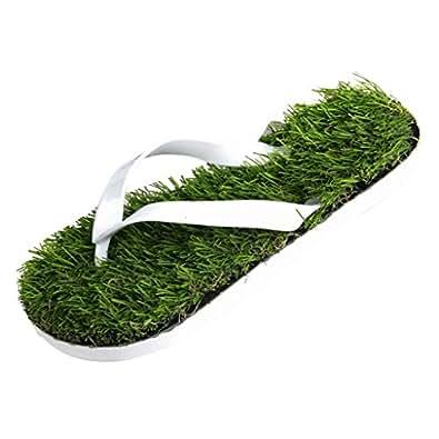 MagiDeal Estate Infradito Sandali per Uomo Donna Appartamenti Prato Artificiale Stile Flip Flops Sandals - Verde + Bianco, 37