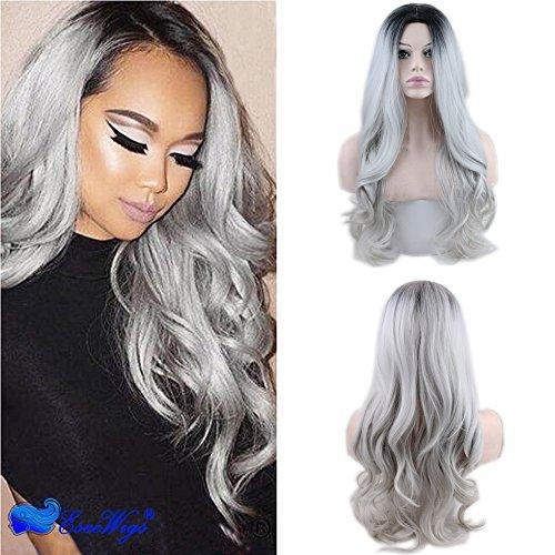 eseewigs frontal de encaje sintético de onda larga resistente al calor peluca Ombre Negro raíces Gris Plateado 130% densidad para mujer negro