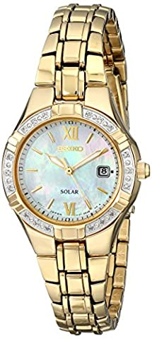 Solar Gold Tone Stainless Steel Case and Bracelet Mother of Pearl Dial Diamonds