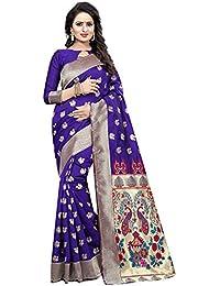 Indian Fashionista Women's Kanjivaram Silk Saree with Blouse Piece