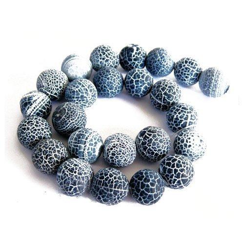 Fil De 42+ Gris Agate Givré Craquelée 8mm Perles Rond - (GS16124-2) - Charming Beads