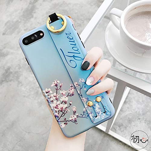 GUYISJK Mobile Shell Retro Kunst Blumen Armband 7 P Apple 8 Plus X Blu-Ray Soft Shell Xsmax 6 Sp Damen Handytasche, Ip-Xr Hellblau Armband Unter Blume Imd Soft Shell Links -