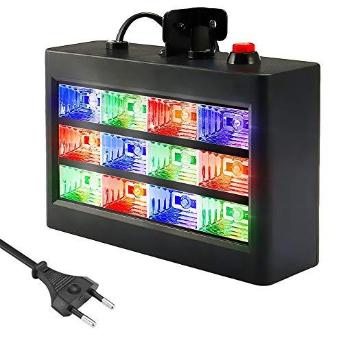 SOLMORE Stroboscope RGB Lampe de Scène 12 LED (Auto/Sound) Strobe Modes Jeux de Lumière Disco Spot Projecteur Effet DJ Éclairage Atmosphère Déco Soirée Fête Anniversaire Mariage Bar Karaoké 15W 220V