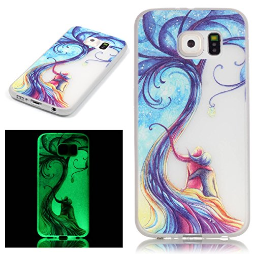 Custodia Galaxy S6 - Cover per Samsung Galaxy S6 - ISAKEN Fashion Agganciabile Luminosa Custodia con LED Lampeggiante PU Pelle Portafoglio Tinta Unita Cover Caso per Samsung S6, Luxury Protettivo Skin mare coppia amore