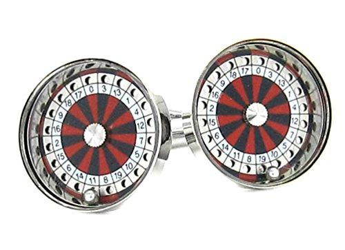 Unbekannt Manschettenknöpfe Roulette silbern farbig + bewegliche Kugel! schwarzer Exklusivbox