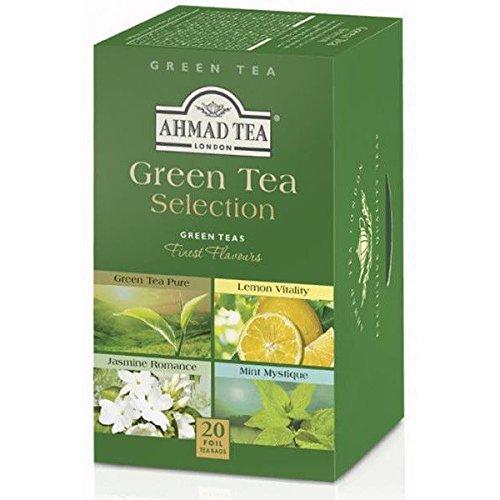 Ahmad Tea – Green Tea Selection | 4 verschiedene Grüntee-Sorten | 20 Teebeutel á 2 g | Teebeutel mit Band