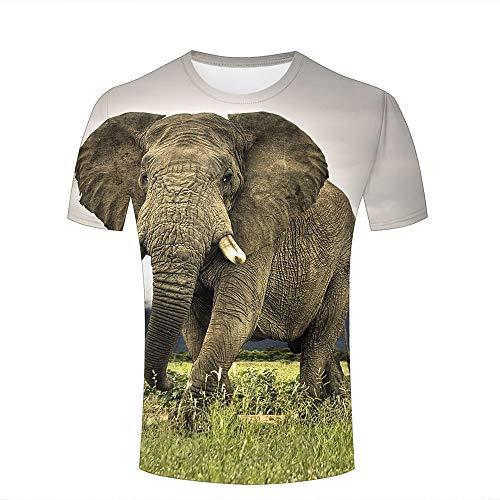 Men Casual Design 3D Printed Elephant Walking on Grassland Short Sleeve T Shirts Tees S (Volcom-zeichen)