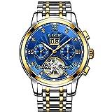 LIGE Relojes Hombres Moda Acero Inoxidable Impermeable Automático Mecánico Reloj Fecha Negocios Hombre Lujo Reloj De Pulsera Azul Dorado