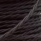 Iluminación alambre trenzado forrado en tejido trenzado Cable Flex 0,75 mm 3 Core 1 Meter negro