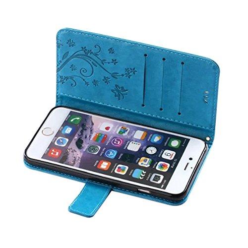 Coque Etui pour iPhone 6 Plus/6 Plus,iPhone 6 Plus/6 Plus Coque Hibou Motif Portefeuille PU Cuir Etui Housse,Ukayfe Etui de Protection en Cuir Bling Bling Glitter Sparkle Diamant Strass Coque Etui à r Papillon-Bleu