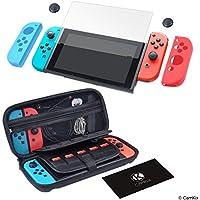 Juego de protección y agarre para Nintendo Switch: 1x Funda de nylon dura, 1x protector de pantalla de vidrio templado, 2x funda Joy Con, 2x tapa con agarre de pulgar, 1x paño de limpieza