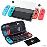 CamKix Kit Grip e Protezione compatibile con Nintendo Switch: Custodia Rigida in Nylon (20 Game Card), Proteggi Schermo in Vetro Temperato, 2x Cover Joy Con, 2x Cover Thumb Grip, Panno