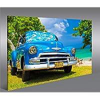 Quadro moderno Blauer Cuba Chevy am Strand 1p Stampa su tela - Quadro x poltrone salotto cucina mobili ufficio casa - fotografica formato XXL
