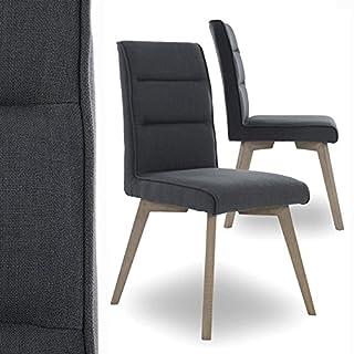 MACOShopde by MACO Möbel Esszimmerstühle 2er Set Küchenstühle - Stühle mit Polsterung Retro Design Stoff (grau)