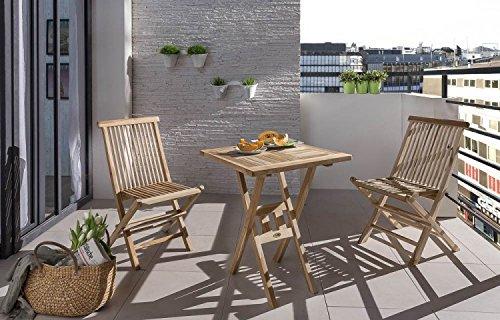 Teak Esstisch Stühle (SAM® Teak-Holz Balkongruppe, Gartengruppe, Gartenmöbel 3tlg., bestehend aus 1 x Tisch + 2 x Klappstuhl, zusammenklappbar, leicht zu verstauen [53262637])