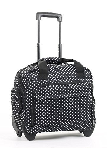 members-essential-on-board-business-case-laptop-case-on-wheels-black-white-polka