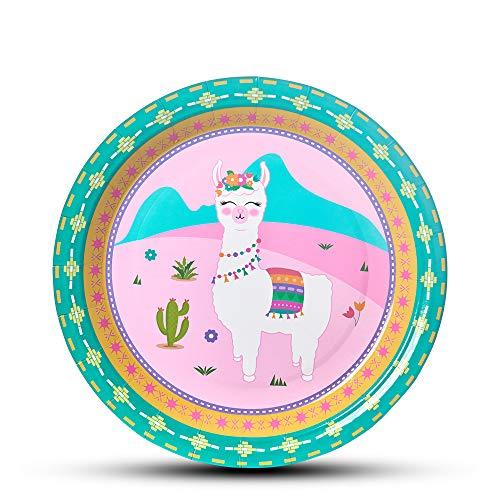 Partyzubehör - 50 Stück Einweg Papier Teller Platten für Mädchen Geburtstags Baby Shower Alpaka Muster Rosa Mittagessen Geschirr ()