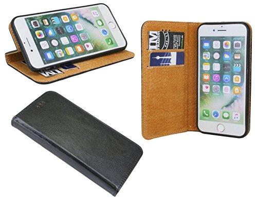 Echt Leder Buch Tasche (Elegante ECHT LEDER Buch-Tasche Hülle für das LG Q6 in Schwarz Wallet Book-Style Cover Schale @ cofi1453®)