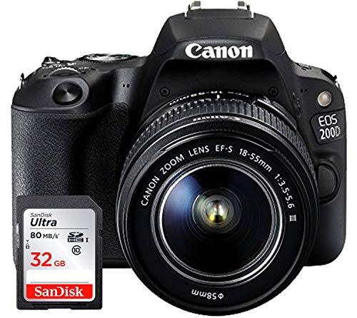 Canon EOS 200D - Fotocamera Digitale Reflex + Obiettivo EF-S 18-55mm f/4-5.6 III + Ultra SDHC Scheda di Memoria 32 GB - Nero
