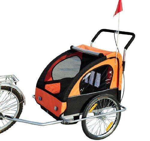 HOMCOM 2 in1 Jogger Kinderanhänger Fahrradanhänger Kinder Radanhänger mit Fahne Orange-Schwarz