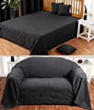 Homescapes Rajput Ribbed Throw 60 x 80 Inches Plain Black Handmade 100% Cotton Suitable for most 2 Seater Sofas Single bedspreads Easy care washable at home