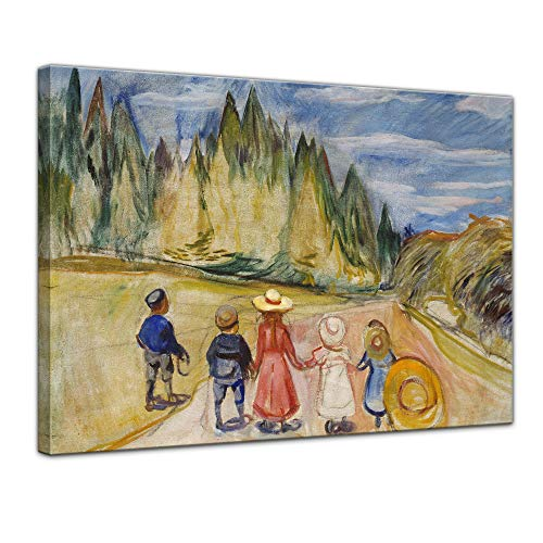 Leinwandbild Edvard Munch The Fairytale Forest Der Märchenwald - 120x90cm quer - Keilrahmenbild Bild auf Leinwand Gemälde (Expressionismus Kostüm)