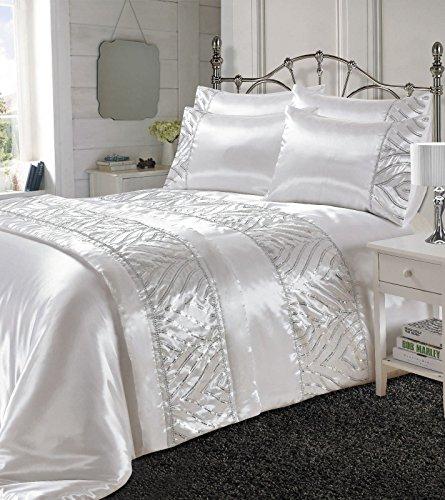 Looms-Work Luxus Shimmer Seide glänzend Satin Polyester Bettbezug mit Kissen Fall, Oder Passende Bett Läufer, weiß, Einzelbett (Luxus-bett-kissen)
