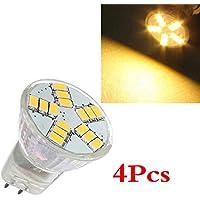 SODIAL (R) 4x G4 MR11 4W 15 SMD 5630 LED di risparmio energia del riflettore della lampada della lampadina 12V bianco caldo