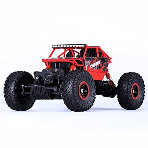 RC Car, YOKKAO 2.4GHz 1:18 Scale Remote Control Electric RC Monster Truck with Four Wheel Drive Rock Crawler - Red