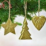 Valery Madelyn Holz Weihnachtsanhänger 6er Set 7-10cm Weihnachtsdeko Hänger Herz Stern Weihnachtsbaum Hängedekoration Baumschmuck zum Aufhängen In den Wald Thema Glitzernden Gold