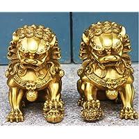 YUNHAO Par de estatuas de león guardián de Bronce Amarillo Chino para Perro ...