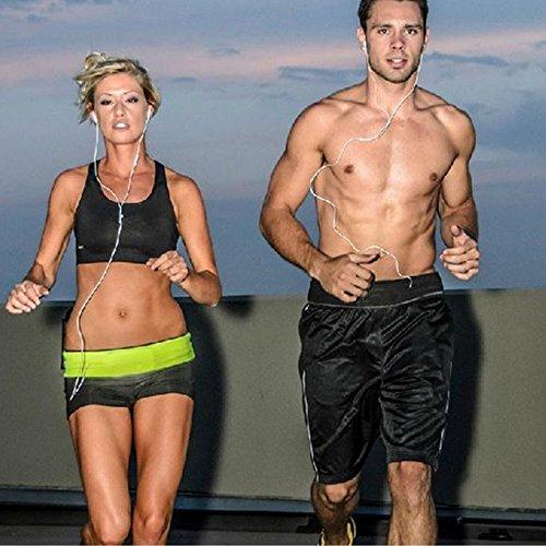 Minetom Cintura per la Corsa e il Jogging - Cintura Porta Oggetti - Ideale per l'Esercizio Fisico, il Fitness, l'Allenamento, lo Sport, Marsupio elastico, accessorio da sport ideale per contenere picc Nero