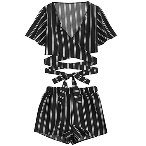 Bibao Damen Kurz-Pyjama Set, gestreift Bandage Crop Top Schleife Hose Party Cosplay -